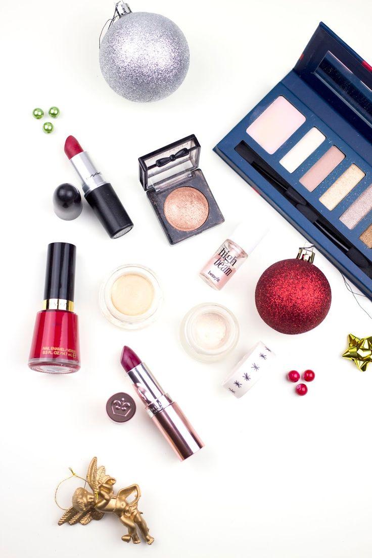 Makeup, Festive Makeup, Christmas Makeup Look, Katie Writes, Rimmel, Topshop, Revlon, Maybelline, Benefit, NYX, Barry M, MAC, Flatlay, MAC Ruby Woo, Red Nails, Christmas, Makeup, Beauty, Beauty Bloggers, Festive Flatlay