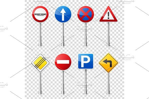 Road signs collection isolated on transparent background. Road traffic control.Lane usage.Stop and yield. Regulatory signs. by 32pixels on @creativemarket