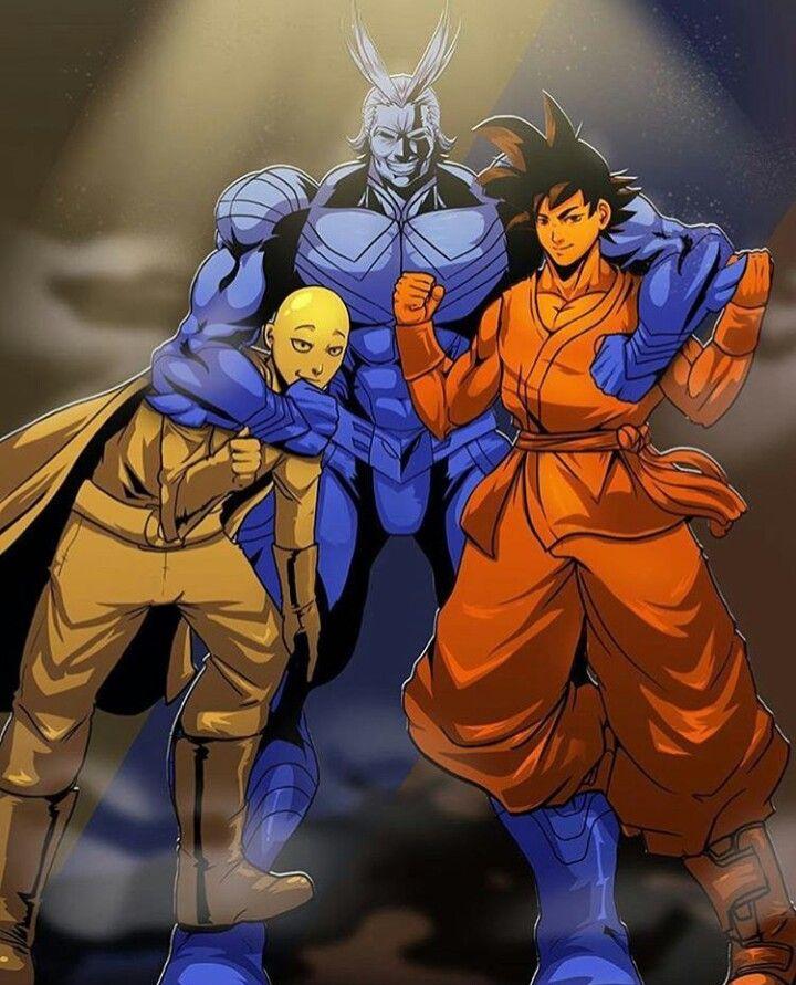Anime Heroes Goku Dbz All Might Bnha Saitama Opm Anime Crossover Saitama One Punch Man One Punch Man