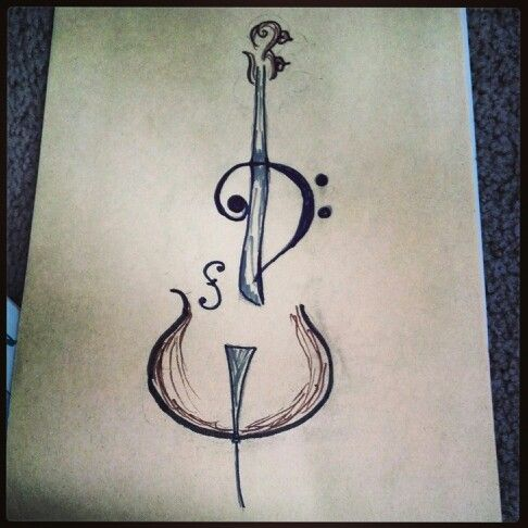 Tattoo idea: Cello bass clef line drawing, kicked up a notch. #music #tattoo #cellobass