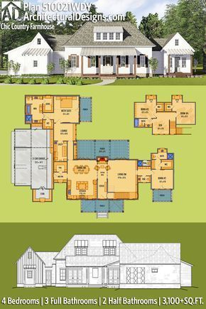 Architectural Designs House Plan 510021wdy Is Like My Favorite Plan But With An Extra B Architectural Design House Plans House Plans Farmhouse House Blueprints