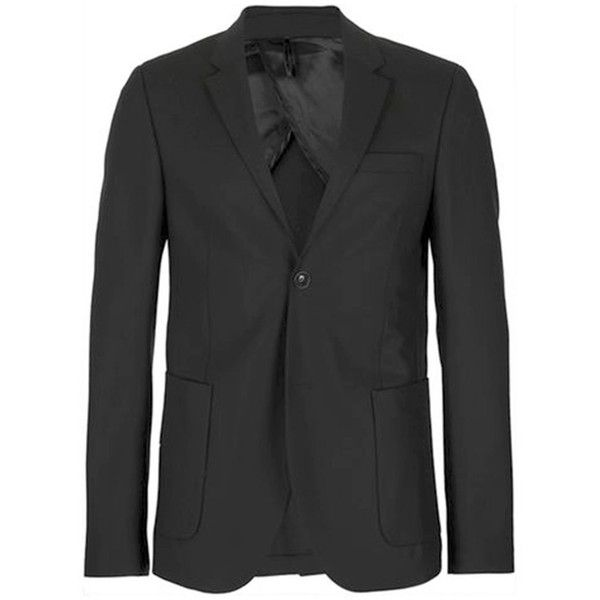 TOPMAN Travel Series Black Wool Skinny Fit Suit Jacket (£140) ❤ liked on Polyvore featuring men's fashion, men's clothing, men's suits, black, mens skinny suits, topman mens suits, mens travel suit, mens skinny fit suits and mens wool suits