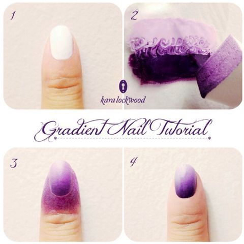 Gradient Nail tutorial on Pose  1-basecoat  2-take 2 colors on glass, and swirl them in the middle with a toothpick.  Use a makeup sponge to ransfer to nail.  3- transferred.    4- clean up skin and top coat the nail  Ta Da!