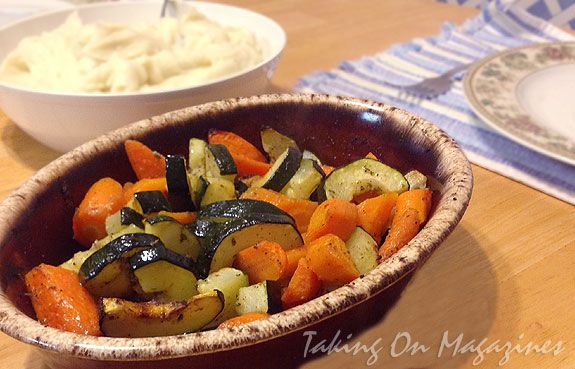 Roasted Zucchini and Carrots | www.takingonmagazines.com | Sometimes the simplest foods are the perfect way to go. This roasted carrot and zucchini dish one has includes fresh herbs and good olive oil.