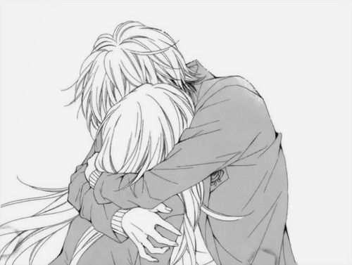 Anime couple hug kawaii - Manga couple triste ...