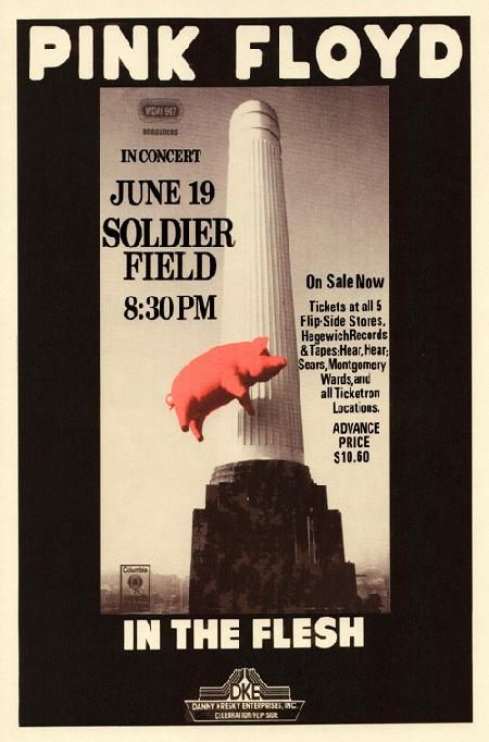 Reprint concert poster for Pink Floyd at Soldier Field in Chicago, IL. 11x17…