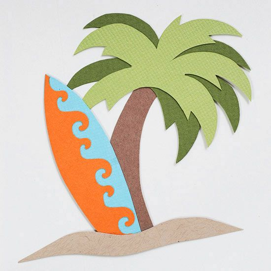 Surfboard and Palm Tree Paper-Piecing Pattern