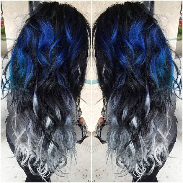 Black to Grey Ombre with Dark Blue Hints