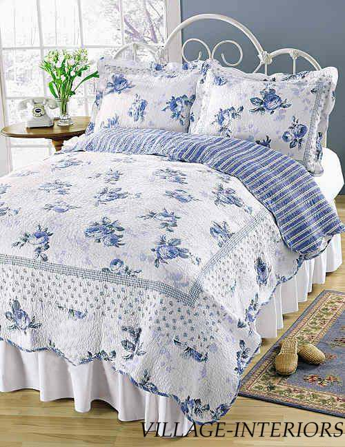 King Quilt Set Cottage Romantic Chic Shabby Blossom Blue Rose White Quilt +Shams