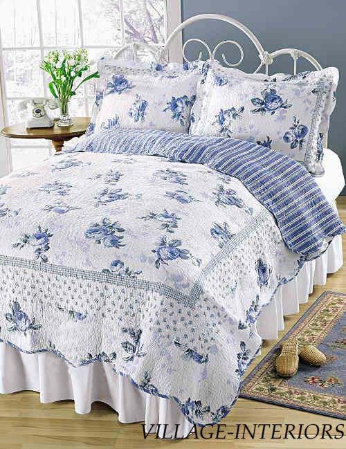 King Quilt Set Cottage Romantic Chic Shabby Blossom Blue Rose White Quilt +Shams                                                                                                                                                                                 More
