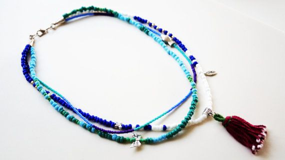 LUCKY NECKLACE / turquoise navy blue green white aqua by sestras