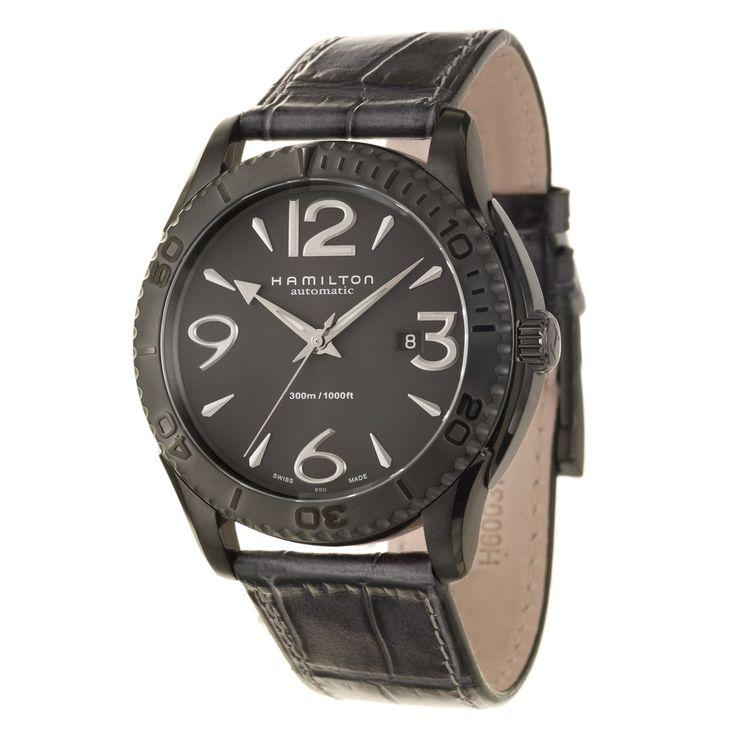 Hamilton Men's 'Jazzmaster' Ion-plated Steel Swiss Automatic Watch