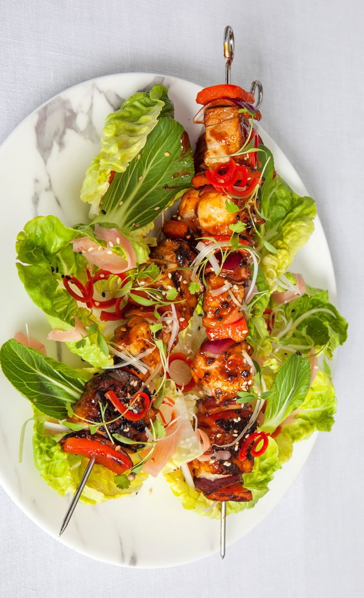Tony Fleming's barbecue pork skewer recipe is far from your standard summer kebab. Each skewer is threaded with confit pork belly, fresh langoustines and vegetables before placing over hot coals and brushing with a sticky barbecue sauce.