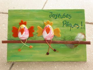 pour l'école : Poules FIMO sur une branche