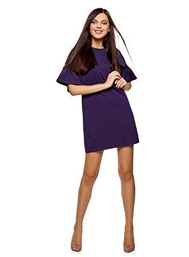 c919174990c oodji Ultra Femme Robe Droite avec Manches à Volants Violet FR 42 ...