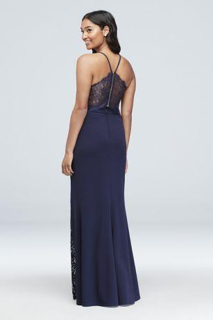 caa4454dfe Lace Racerback Scuba Crepe Mermaid Gown Style 7711PX5C