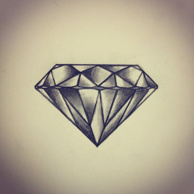 Diamond tattoo sketch / drawing by - Ranz ---- I think I'd want one simpler (fewer facets) but I love the shading.