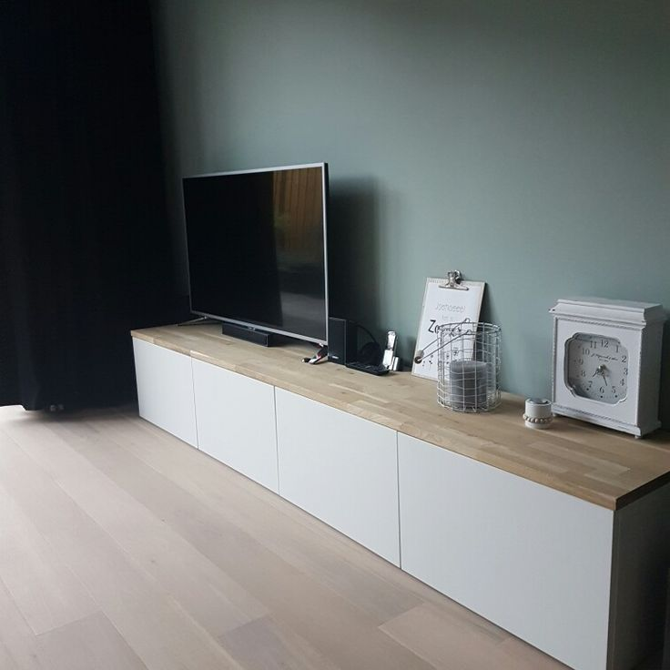 Besta kast Ikea met eiken plank van praxis