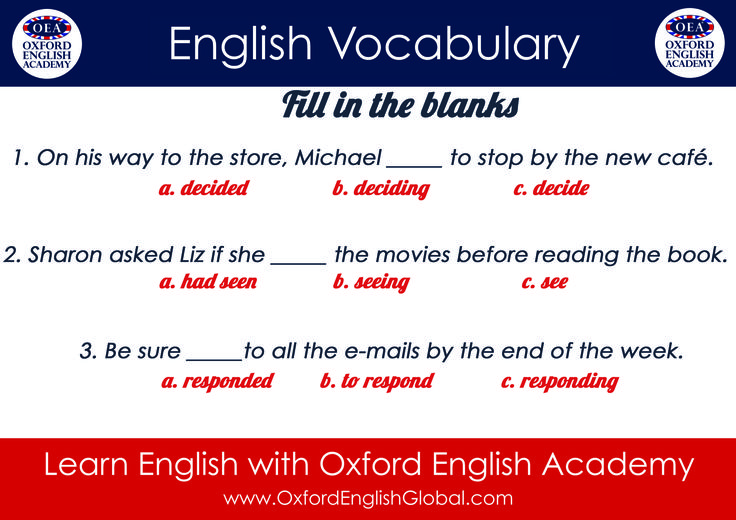Learn English with Oxford English Academy Fill In the Blanks.Click VISIT for more English learning hints and tips from the Oxford English Academy blog.#oxfordenglishacademy #learnenglish #englishschool #englishcourse #learnenglishcapetown