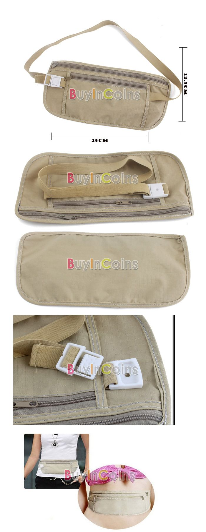 Travel Pouch Hidden Compact Security Money Waist Belt -- BuyinCoins.com