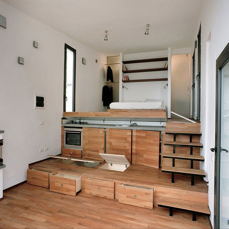 A 377 square feet studio home in Turin, Italy.