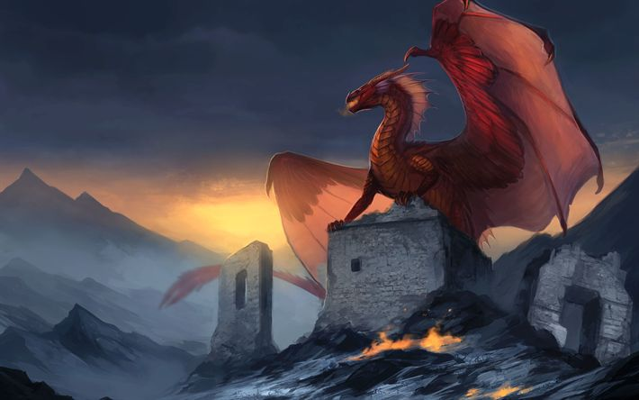 Download wallpapers dragons, art, monster, mountans, red dragon