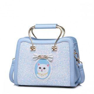 JUST STRA Brokatowy kuferek z kotem Niebieski