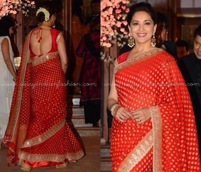 Red Saree Style and Makeup Tips, How To Style Red Saree, Makeup Looks For Red Saree,Madhuri Dixit Red Saree Makeup and Hairstyle Ideas.