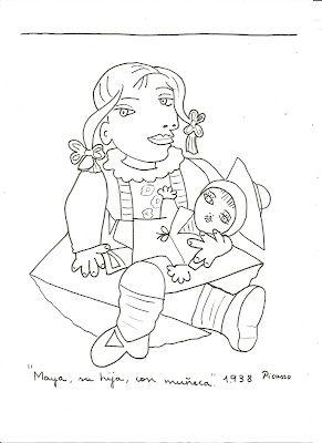 MAYA CON MUÑECA: Representa a Maya, hija de Picasso con Marie-Thérèse Walter. Fue realizado el 16 de enero de 1938. La niña está sentada en el suelo y sostiene una muñeca entre sus brazos.