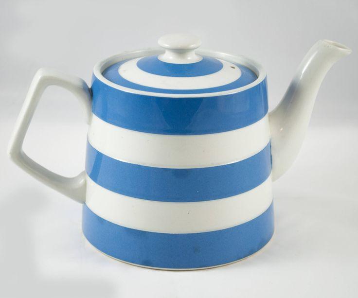 Théière vintage Staffordshire potteries bleu et blanc de la boutique 3rvintages sur Etsy