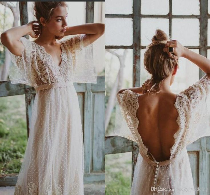 Discount Vintage Western Country Style Wedding Dresses Long V Neck Backless Lace Dot Tulle Bohemian Wedding Bridal Gown With Half Sleeve Beach Summer Gorgeous Wedding Dresses Lace Gowns From Becky_wedding, $145.73| DHgate.Com