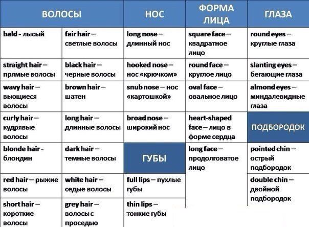 Russian vocab words face beauty