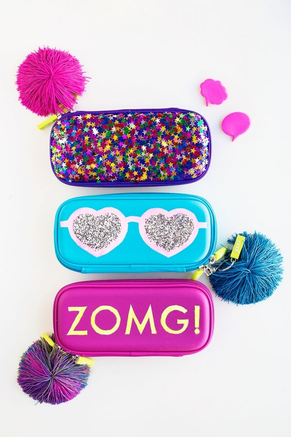 DIY Glittery Graphic Pencil Cases | studiodiy.com