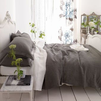 biella slate sheets - wonderful pure 100% linen in slate grey. washed for softness giving a beautiful relaxed quality. no need for pressing this fabulous soft bedlinen will look naturally stylish in any setting. £105