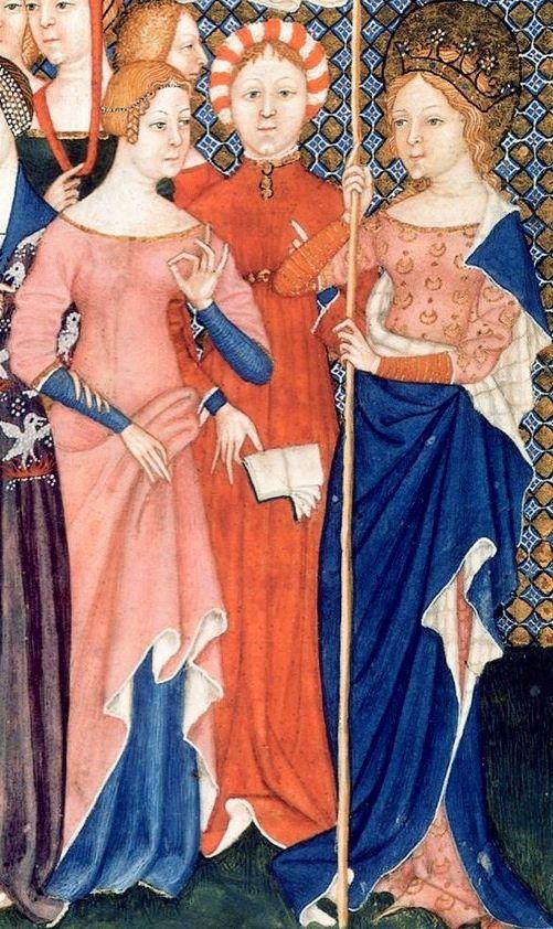 """Giovanni di Benedetto. La cottardita, o sovra-cotta, del 1340/60, conosciuta anche con il nome di """"cipriana"""" visto l'utilizzo di bottoni, che dal 1351 prese il posto della guarnacca (surcot), era generalmente abbottonata davanti dal collo ai piedi o fino al bacino nella cottardita con una lunga fila di bottoni. Come osservava Gabriel de Mussis (1280 – 1356) questa moda bizzarra ledeva l'onestá femminile in quanto la l'abito particolarmente attillato e scollato metteva in mostra i seni. La…"""
