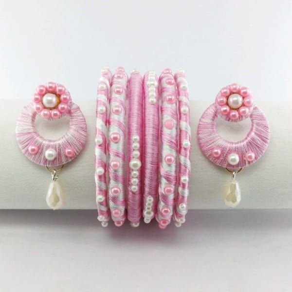 Silk Thread Bangles and Earring Set 400 for reference only