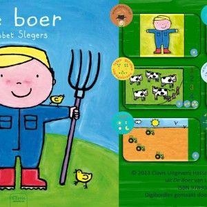 Digibordles-de-boer Prentenboek 'De boer' van Liesbet Slegers. Doel: woordenschat, tijd, tellen en hoeveelheden, wereldoriëntatie en aanvankelijk lezen. Spel 1:  Weet jij hoe de kleding van de boer en zijn gereedschap heet? Spel 2: Logische volgorde. Wat gebeurt er met de melk Spel 3: Telspel in 3 niveaus Spel 4: Het werk van de boer.  Spel 5. Welke tractor is als eerste aan de overkant?  Spel 6. Lees het woord en klik steeds op het juiste plaatje.