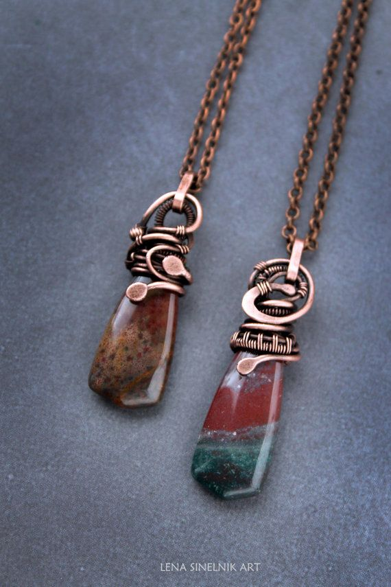 Wirewrap pendant Copper pendant Wirewrapped necklace Wirework jewelry Agate pendant The pendants is handmade of copper and agates. Metal