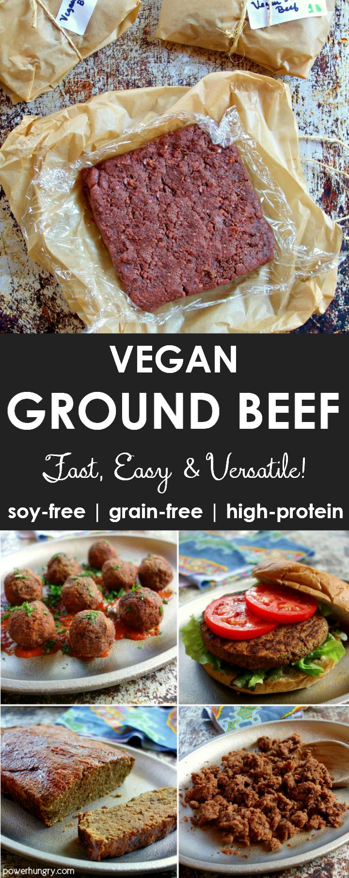 Vegan Ground Beef {soy-free, grain-free, high protein}