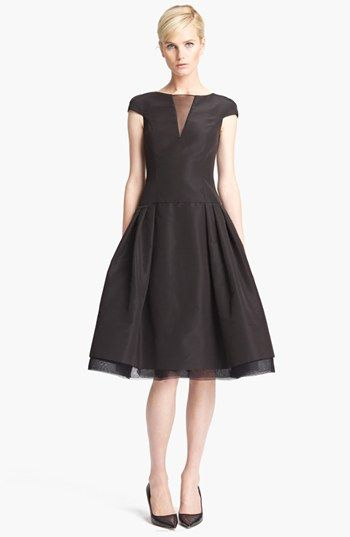 A modern Grace Kelly look....love it! Oscar de la Renta Inverted Pleat Cocktail Dress available at #Nordstrom