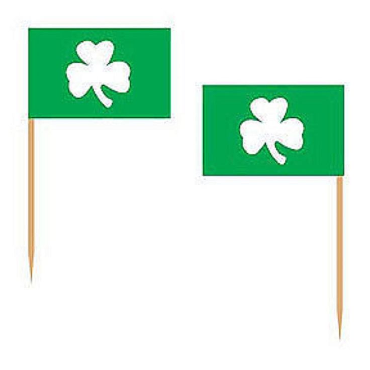St Patrick's Day Irish Party Supplies - Shamrock Flag Party Picks 6cm Pack of 50