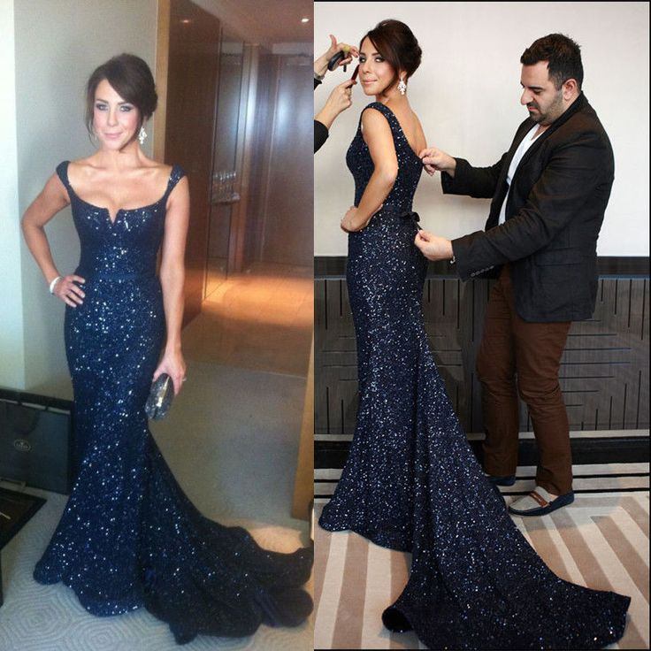 New Sparkle Mermaid Black Sequin Formal Evening Celebrity Gown Long Prom Dresses #Handmade #Corset #Formal