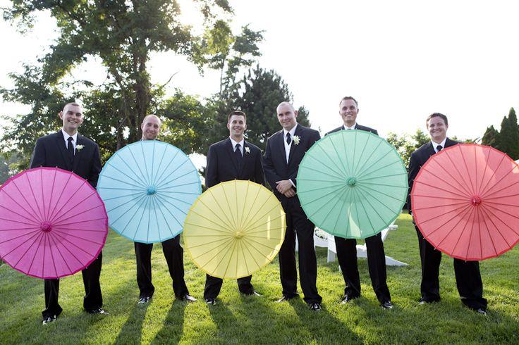 Groomsmen wedding parasols  Photo by Kerry Long Photography www.kerrylong.com