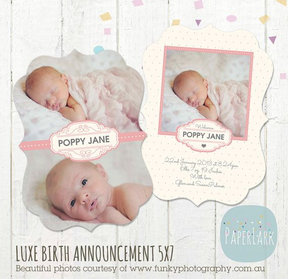 Newborn Birth Announcement  Luxe PSD Card by PaperLarkDesigns, $8.00