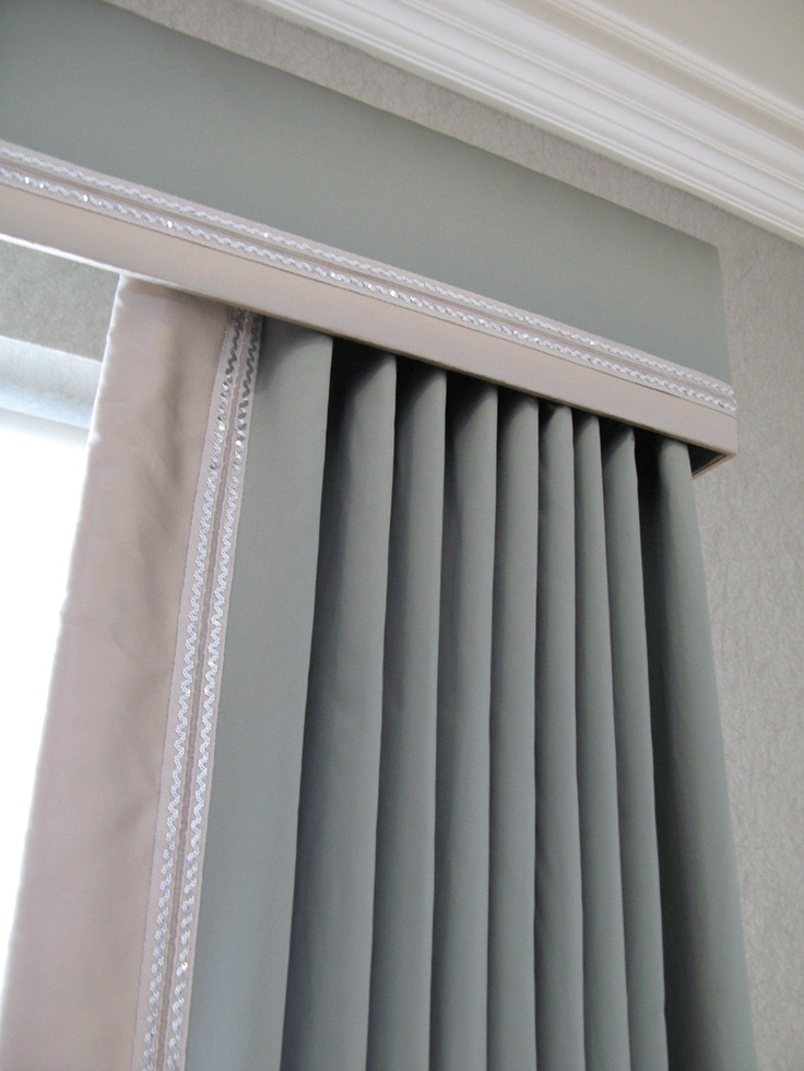 "Cornice and curtains with contrast trim; can always just do a cornice with 2"" blinds"