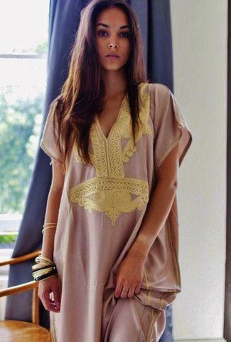 Beige Marrakech Resort Lounge Wear Caftan Kaftan with Gold Embroidery