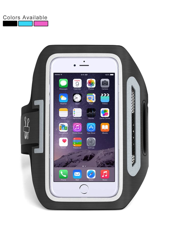"""Ampulla Sports Armband, Cell Phone Armband For Running with Dual Arm Straps Slots and Key Holder ,For All Cell Phones up to 6.0"""" diagonal (Includes FREE Table stand) (Black)"""