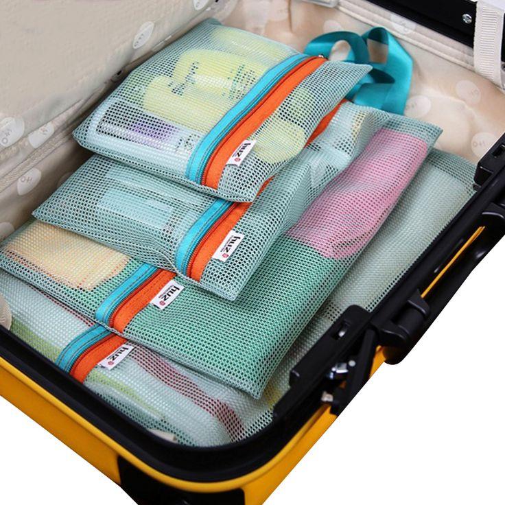4 pçs/set Engrossar Saco de Viagem Portátil de Armazenamento de Viagem Malha Saco de Roupa Roupa Interior Saco De Armazenamento De Suspensão de Higiene Pessoal Caso Organizador Bolsa