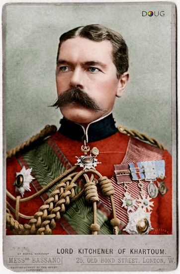 bantarleton:    Lord Horatio Kitchener (24th June 1850 – 5th June 1916).Kitchener was a British military leader and statesman who, as secretary of state for war in the first years of World War One, organised armies on an unprecedented scale. He was also depicted on the most famous British army recruitment poster ever produced.