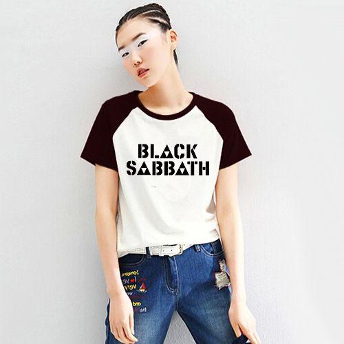 Unisex Loose Style Black Sabbath Rock Women PVC Letter Print T-shirt Female Raglan Short Sleeve Printed Tshirt Woman T-shirts  #Affiliate